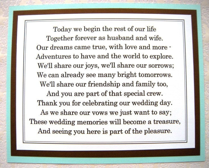 Gift For My Husband On Our Wedding Day: 8x10 Flat Tiffany Blue And Brown Thank You For Celebrating Our