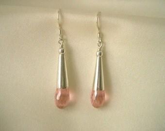 Clearance Sale: Pink CZ Teardrop Earrings