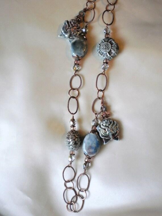 Clearance Sale: Raku Beaded Copper Necklace