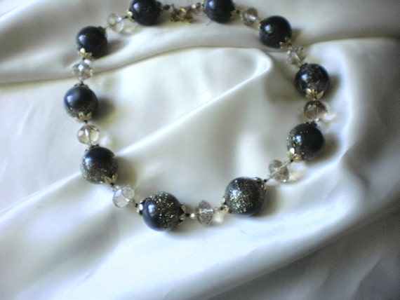 Gray Tinsel Lucite Necklace