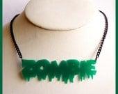 Green Zombie Acrylic Necklace
