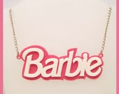Pink and White Barbie Acrylic Necklace