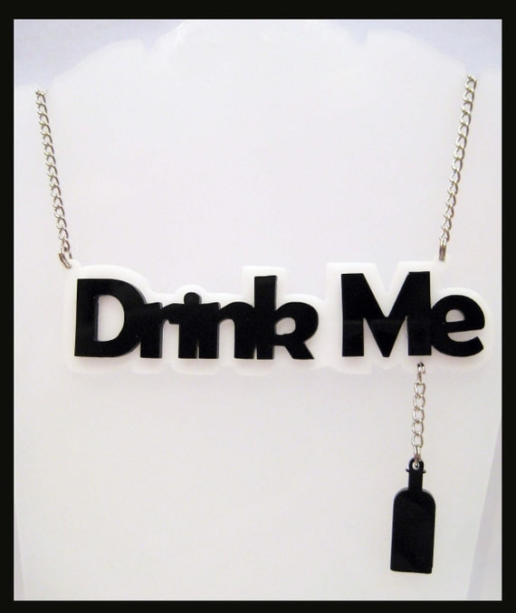 Black and White Drink Me Acrylic Necklace