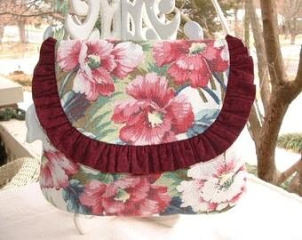 Vintage Barkcloth Floral Envelope Bag