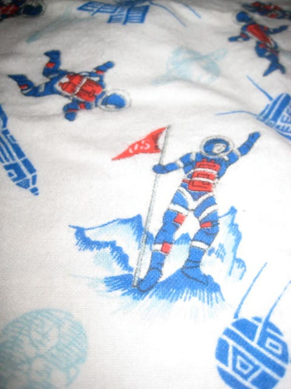 Vintage Space Man flannel fabric 1960's