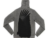 Mens Zip Front Hoodie in Salt and Pepper Gray feat. Aile Noir print in Black - Available in S, M, L, XL