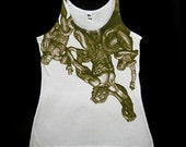 Womens Silk Modal Tank Top in White feat. Laocoon print in Olive