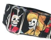 Custom MARTINGALE Dog Collar Día de los Muertos