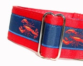 Custom MARTINGALE Dog Collar  - Preppy Lobster in Red