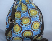 Amy Butler Floral  Lace Knitting Large Drawstring Project Bag