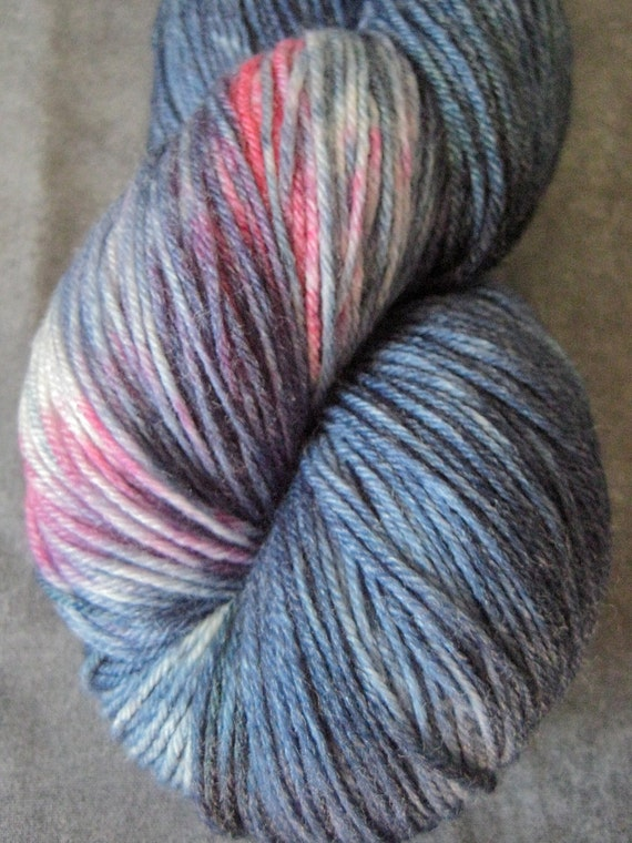 "Hand Dyed Sock Yarn - SW Falkland Merino/Bamboo - 438 yds - ""Denim Girl"""