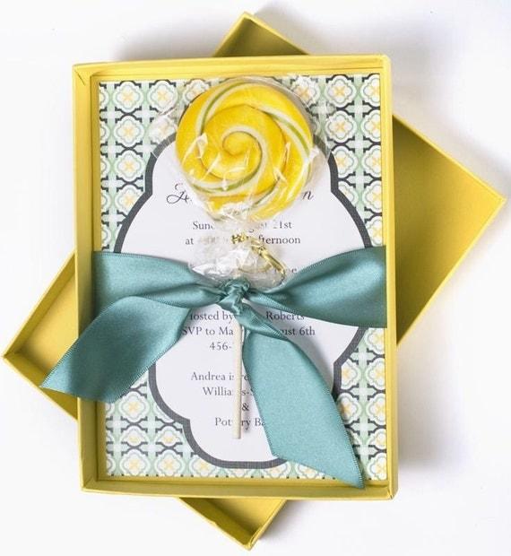 Lemon Drops and Rain Drops Boxed Invitation