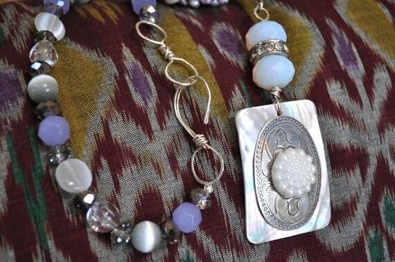 SALE--Lovely Lavender beaded necklace handmade silk sari bead, mother of pearl, repurposed vintage