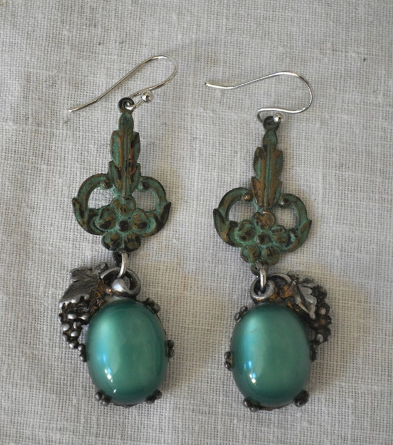 Repurposed green verdigris vintage earrings