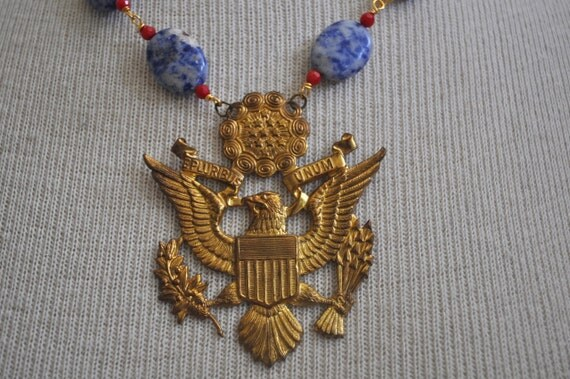 Large vintage brass eagle repurposed red and blue Americana necklace