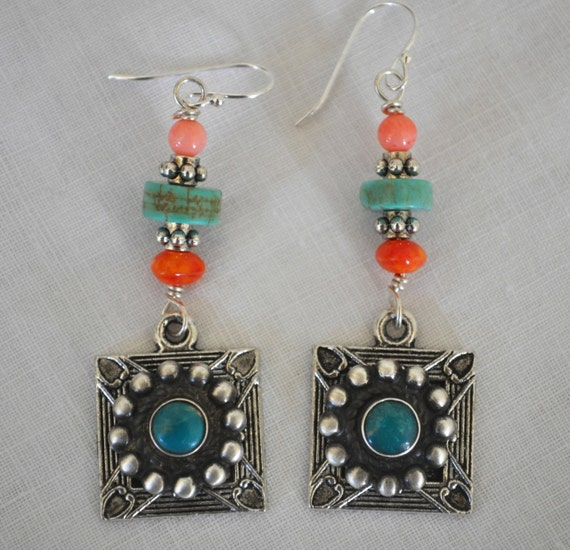 Vintage Mexican turquoise and silver repurposed earrings