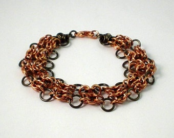 Modified Olivia Byzantine Copper and Gunmetal Chainmaille Bracelet