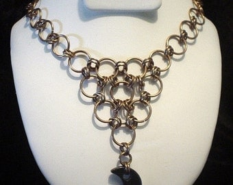 Sleek and Chic Circles Bronze Chainmaille Necklace