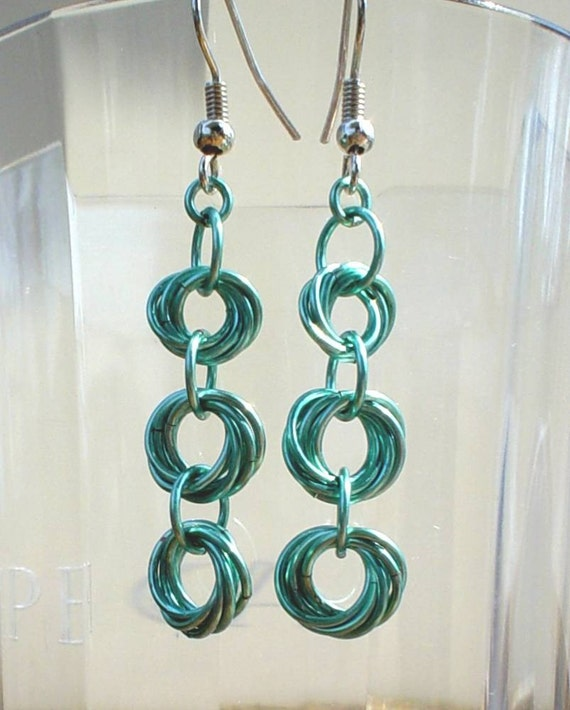 Mobius Seafoam Chainmaille Earrings