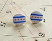 Chicago Flag Stud Earrings