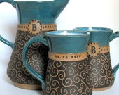 3-Piece Personalized Wedding/Anniversary Set,  Intricately Carved Pottery by Mud Pie Studio NC
