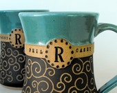 Personalized Pottery, Carved Monogram Mug,  Scratch Made by Mud Pie Studio NC
