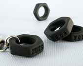 Rustic Mens Charm, Keychain, Black Porcelain (In Stock,Ready to Ship) by Mud Pie Studio