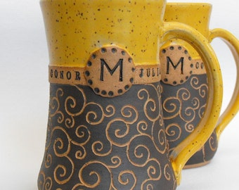 Monogrammed Mugs, 2 Piece Set, Limited Edition, Carved Pottery (Fabulous Wedding, Anniversary Gift)