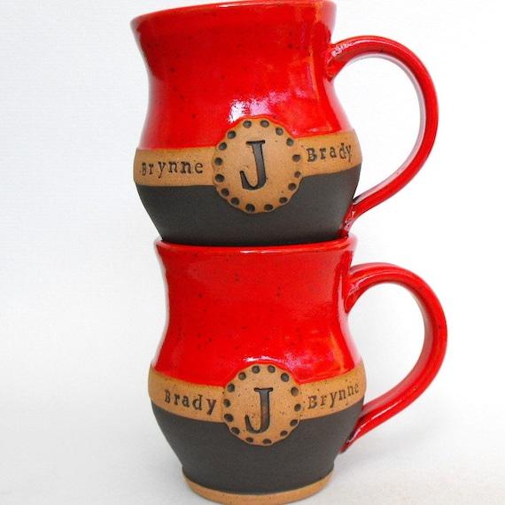 2 Piece Custom Name Mug (TM) Set, Commemorative Wedding or Anniversary Gift, Scratch Made Pottery by Mud Pie Studio