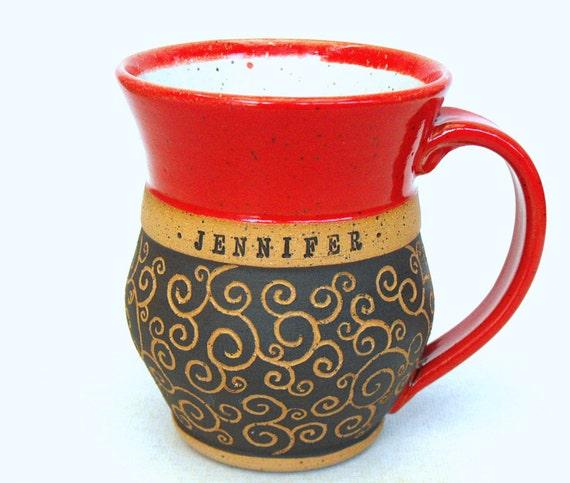 Custom Name Mug (TM), Carved Swirls, Scratch Made Personalized Pottery by Mud Pie Studio