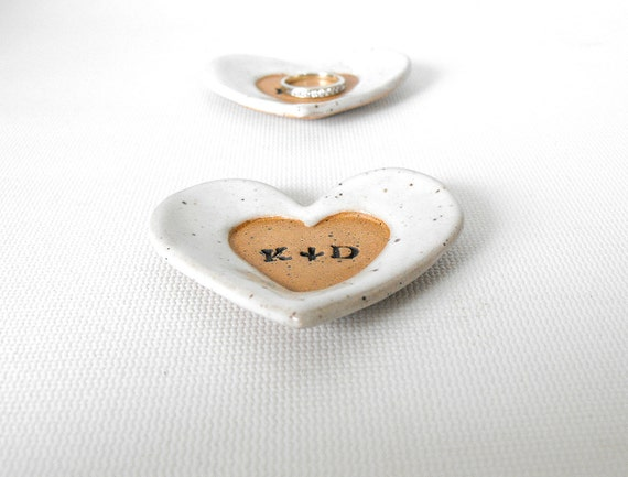Personalized, Custom Ring Dish, Heart with Intials,  Scratch Made Pottery by Mud Pie Studio