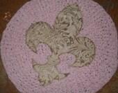 """Rag rug handmade with a fleur de lis applique 28""""  crochet rug"""