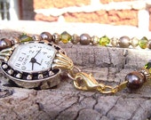Brown pearl, olivine swarovski crystal interchangeable watch