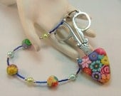 Handcrafted Colorful Millefiori Floral Polymer Clay Scissor Fob