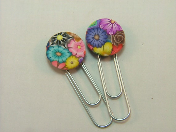 Colorful Millefiori Floral Handmade Polymer Clay Bookmarks/Paperclips