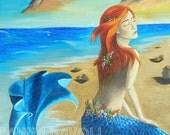 Mermaid Art Print 8x10 Siren Beach Art Sunset Fantasy Art