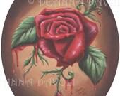 Red Rose Art Print 5x7 Flower Art Fantasy Art Gothic Art Victorian Art Bleeding Rose