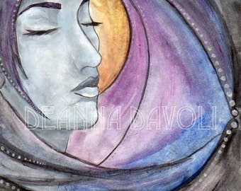 Goddess Art Print Fantasy ART Night Goddess Pagan Art Wiccan Art 8x10