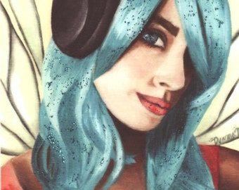 Headphone Fairy ACEO Fairy Art Fantasy ART Urban Faerie Portrait Fae HipHop Fairy