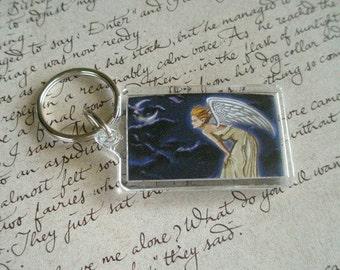 Angel Keychain Fantasy Art Twilight Night Moon Keychain Stars Wings