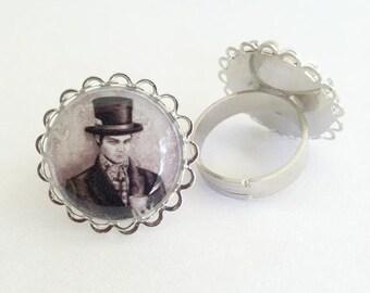 Mad Hatter Art Ring Adjustable Alice in Wonderland