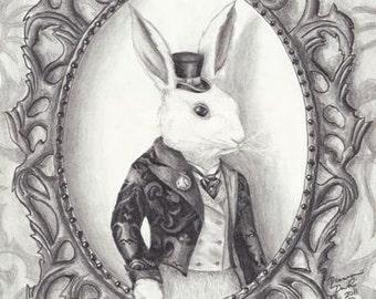 White Rabbit Art Print 5x7 Alice in Wonderland Art Fairy Tale Art Victorian Art Gothic Art