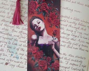 Vampire Bookmark Vampire Art Vampire with Roses Gothic Portrait