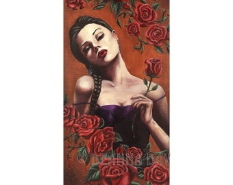 Vampire Art Rose Art Vampire Portrait Fantasy Art Print Vampye Halloween Art 3.25x10 inches