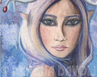 Freya Art Fantasy Art Print Winter Goddess Art Fairy Art 5x7