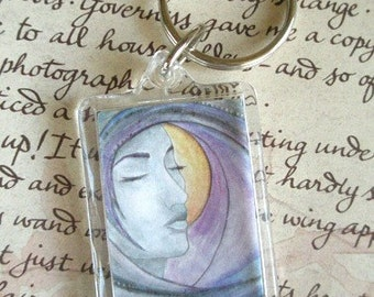 KEYCHAIN Keyring Fantasy Art Goddess Twilight Night Moon Stars Portrait