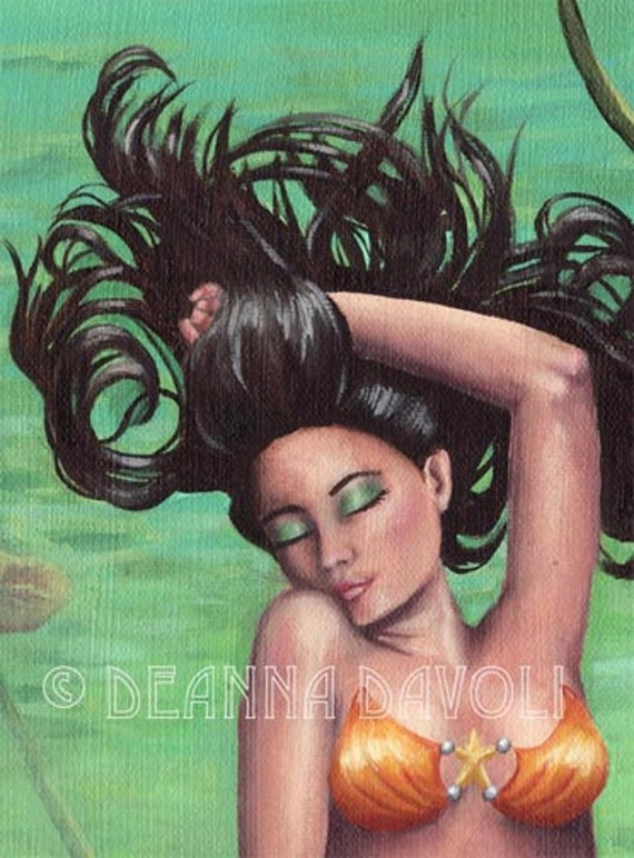Koi Fish Mermaid Art Fantasy Art Print Tropical Art Pond Lilypad 6 x 19