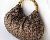 Brown Silk Handbag with Gold Bamboo Handles - Handmade Purse - Ready to Ship