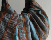 Elegant Boho Stripe Handbag with Rattan Handles - Ready to Ship