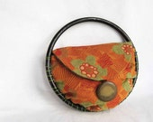 Orange Ring Around Handbag  Handheld Small Retro Purse - October - Ready to Ship